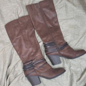 Fergalicious Strappy heeled brown rider boots